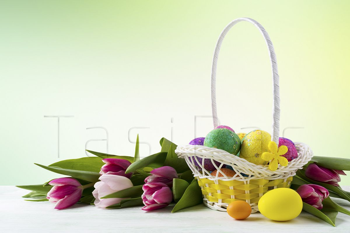 Happy Easter elegant background with painted eggs in yellow basket example image 1