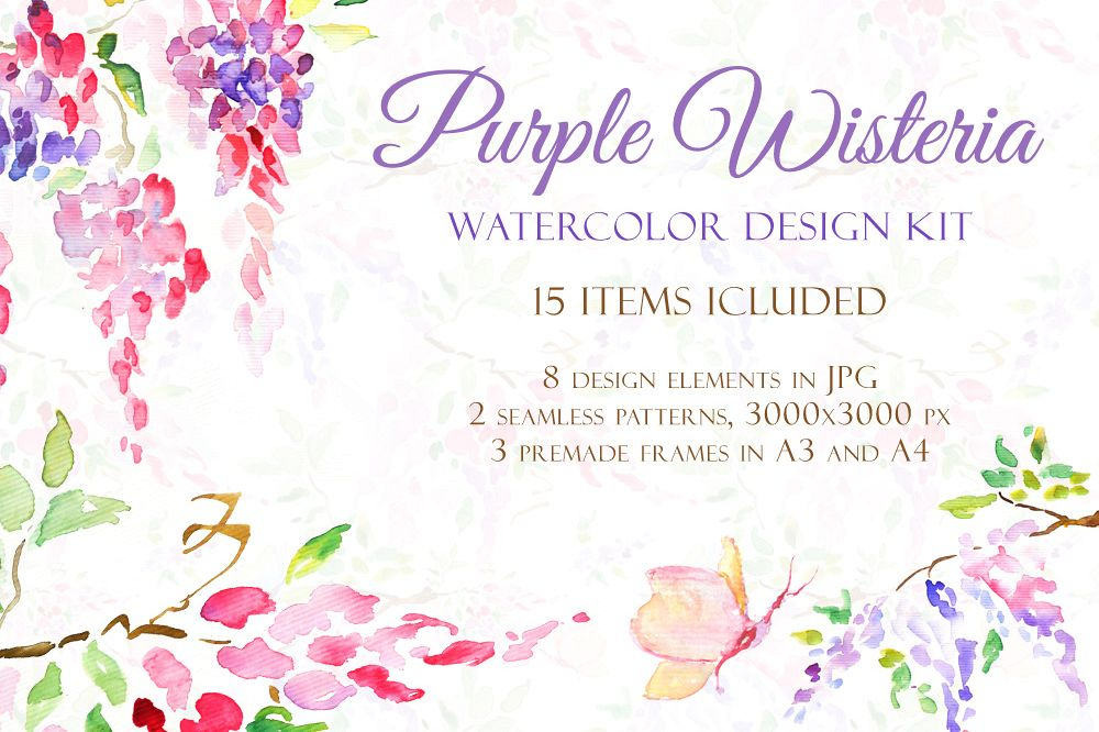 Watercolor Purple Wisteria - Handmade clipart and design kit  example image 1
