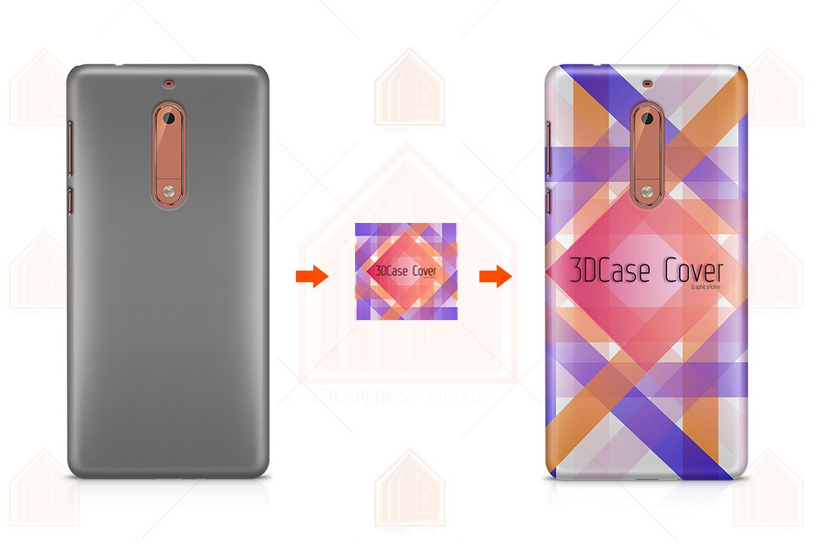 Nokia 5 3D Case Design Mockup Back View example image 1