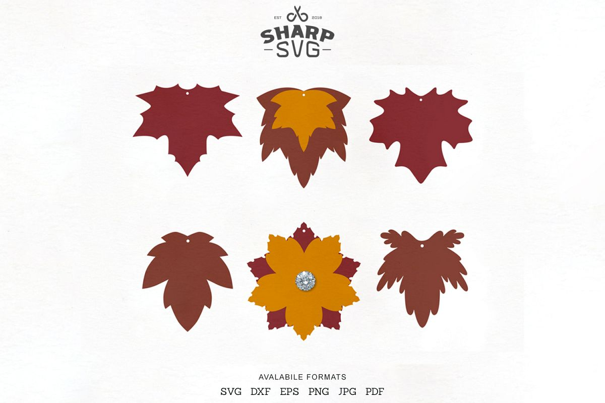 Autumn Leaves Earrings SVG - Leaf Earrings Cutting Template example image 1