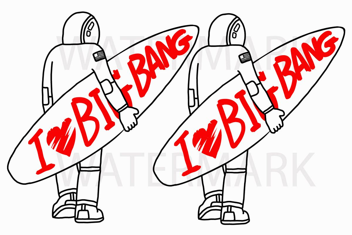Astronaut Holding Surfboard Looking Back - Color and Outline version - SVG/JPG/PNG Hand Drawing example image 1