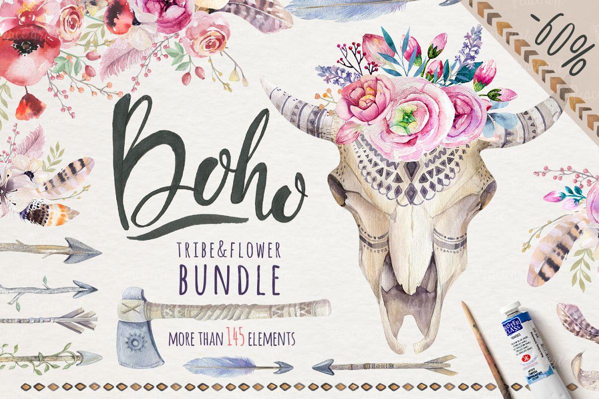 Tribe & Flower boho bundle example image 1