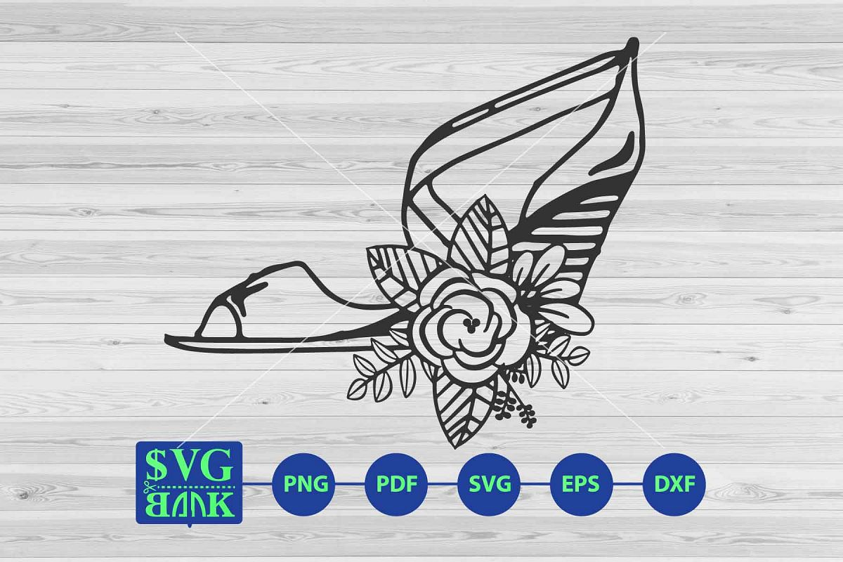 high heel svg, woman shoes with flower svg clipart cut file example image 1