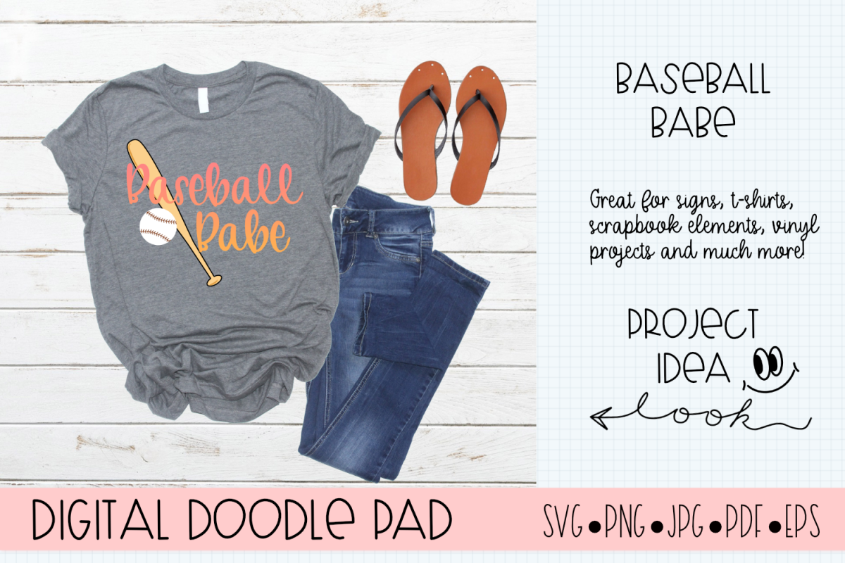 Baseball Babe SVG |Silhouette and Cricut Cut Files example image 1