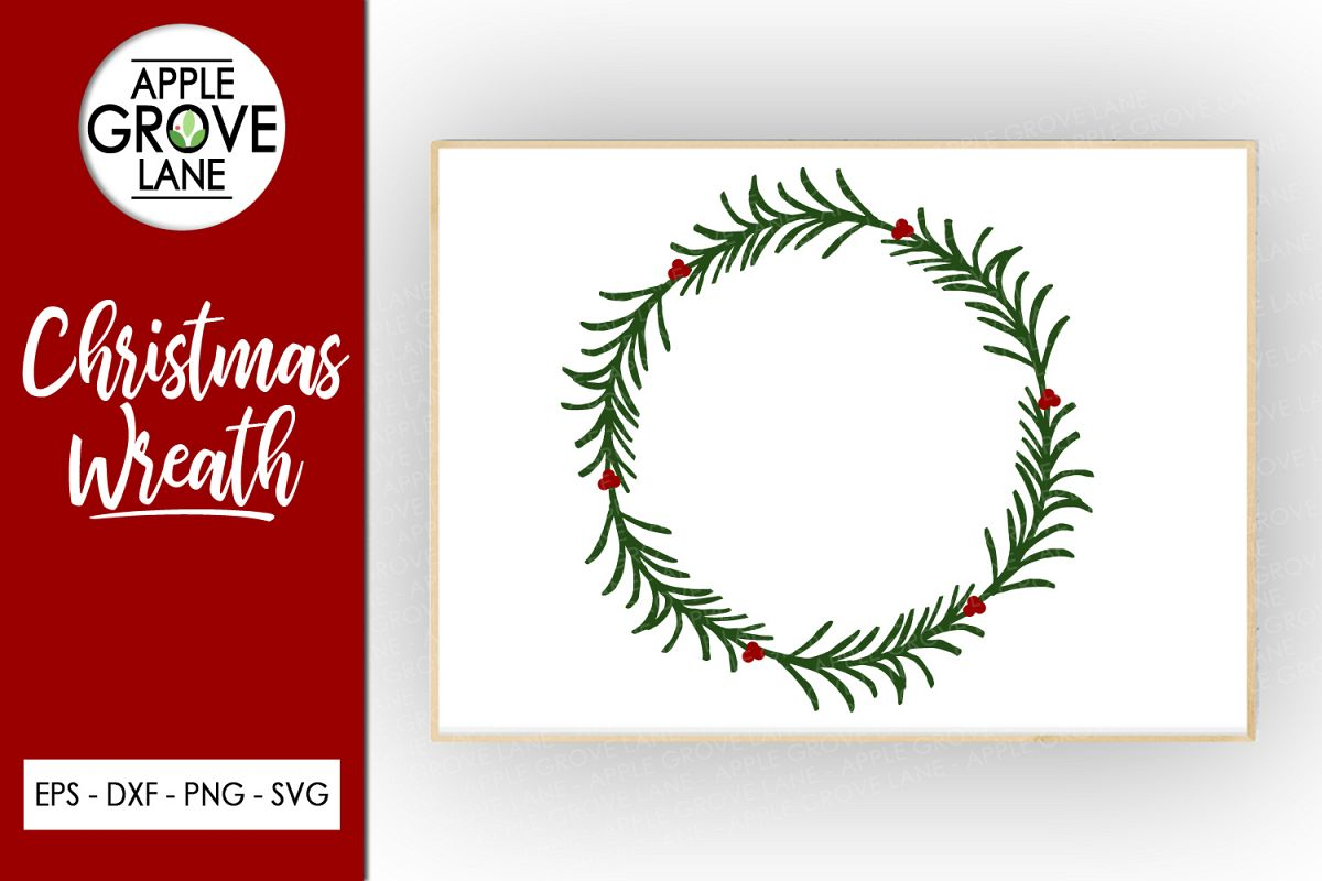 Christmas Wreath Svg Cut File - Svg Dxf Eps Png example image 1