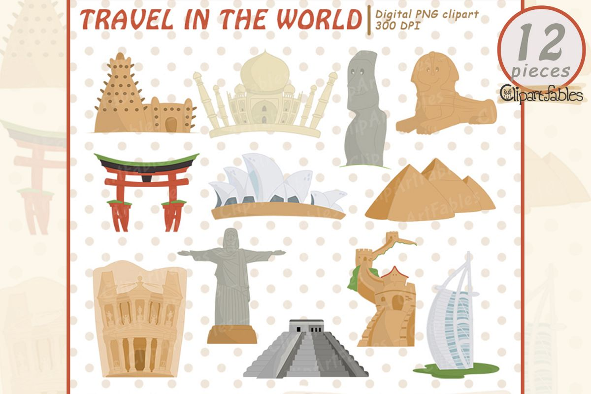 TRAVEL in the WORLD clipart, Seven wonders of the world example image 1