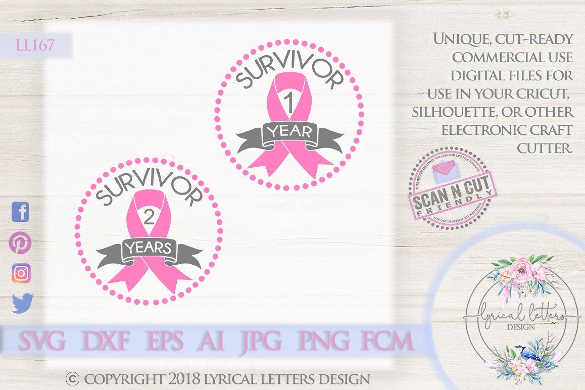 Survivor Anniversary Cancer Pink Ribbon SVG Cut File LL167A example image 1