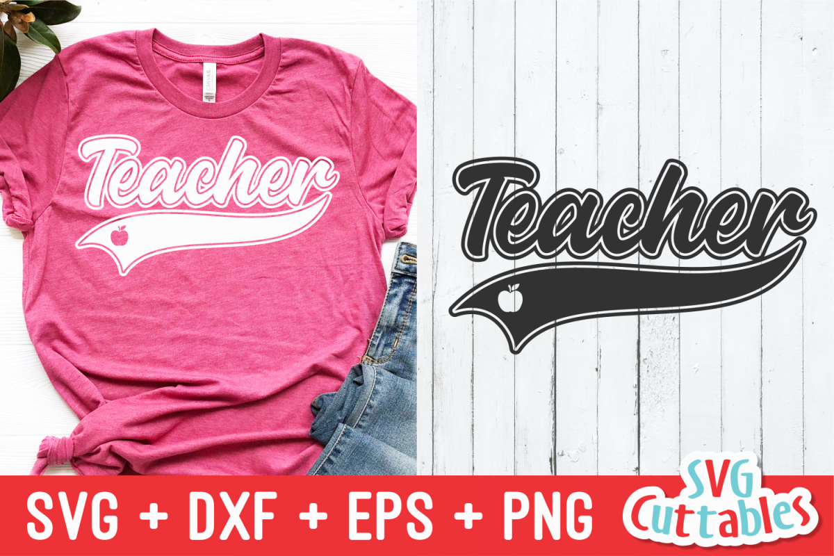 Teacher Text Tail Swoosh| Cut File example image 1