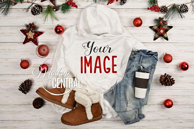 White Christmas Hoodie Sweatshirt Mockup, Grey Shirt Mock Up example image 1