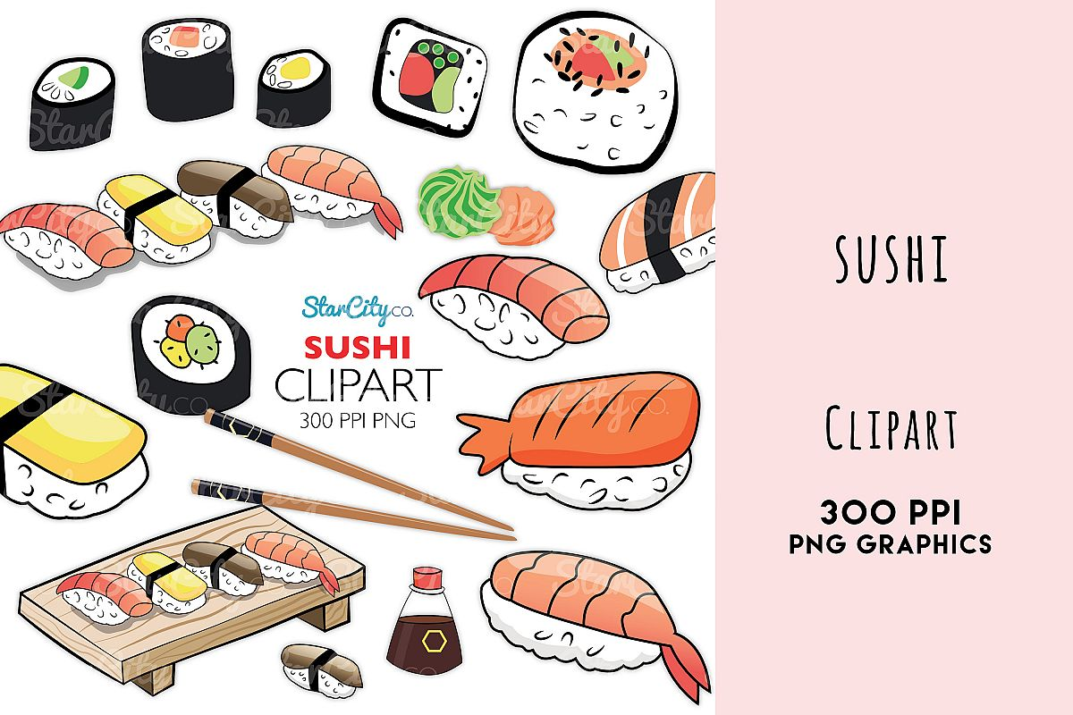 Sushi clipart graphics for commercial use example image 1