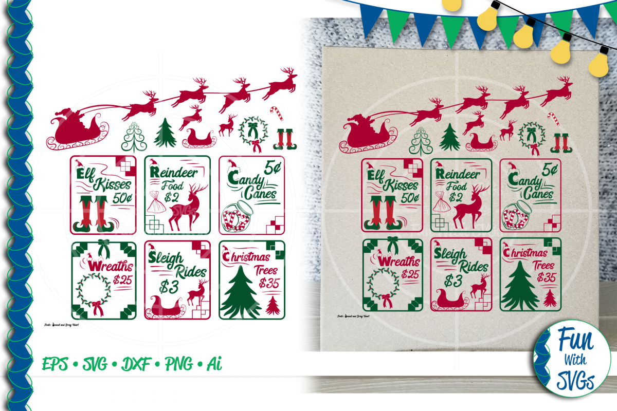 SVG Christmas Sign Bundle Vector, Cut File, Clip Art FWS478 example image 1