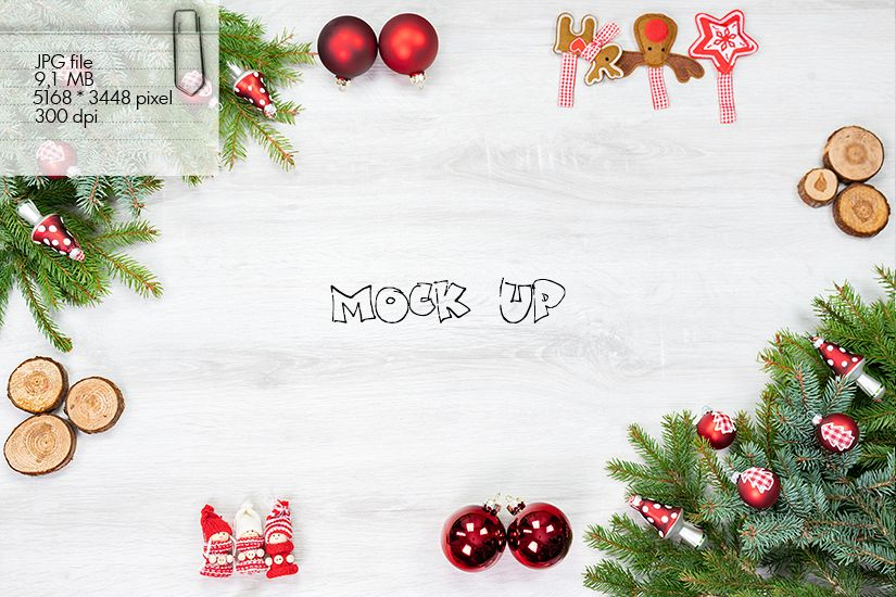 Mock Up - Christmas traditional decorations in red white example image 1