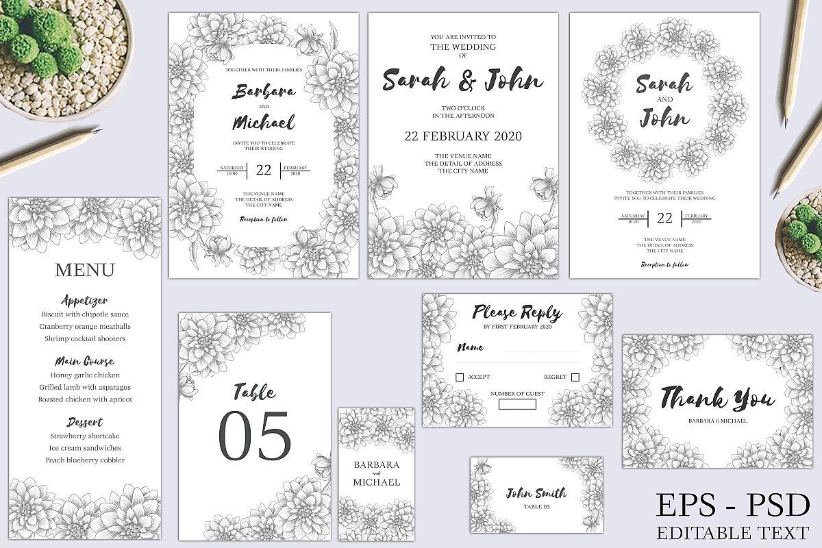 Dahlia Sketch Flower Wedding Invitation Bundle example image 1