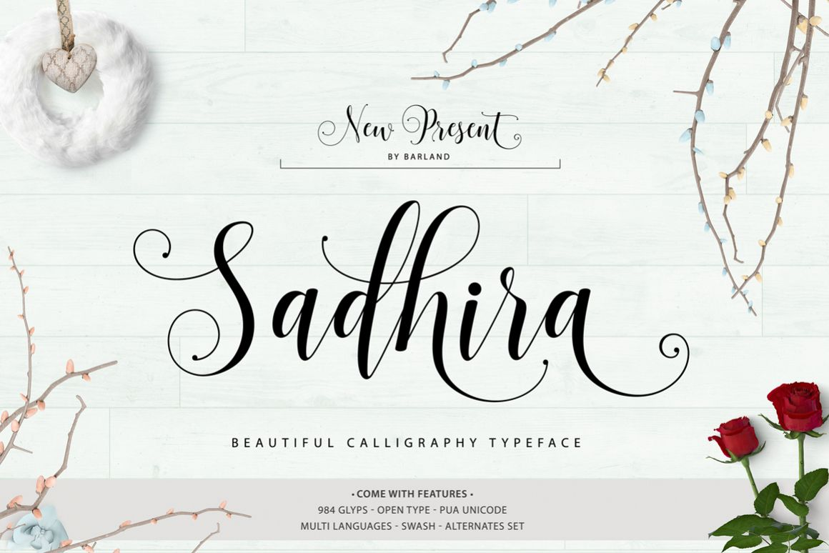 Sadhira Script Calligraphy Typeface example image 1