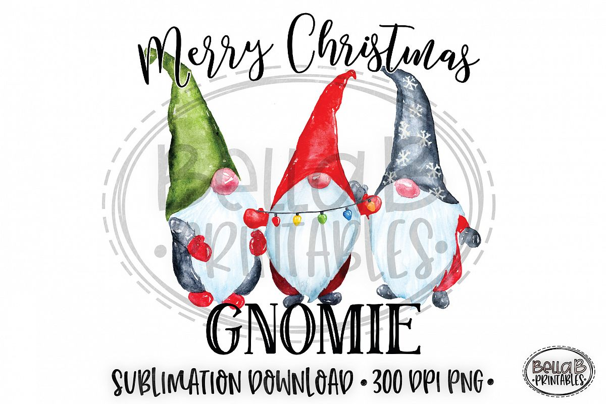 Christmas Sublimation Design, Merry Christmas Gnomie, Gnomes example image 1