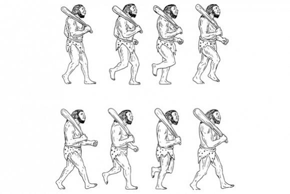 Neanderthal Man Caveman Holding Club Walking Collection Set example image 1
