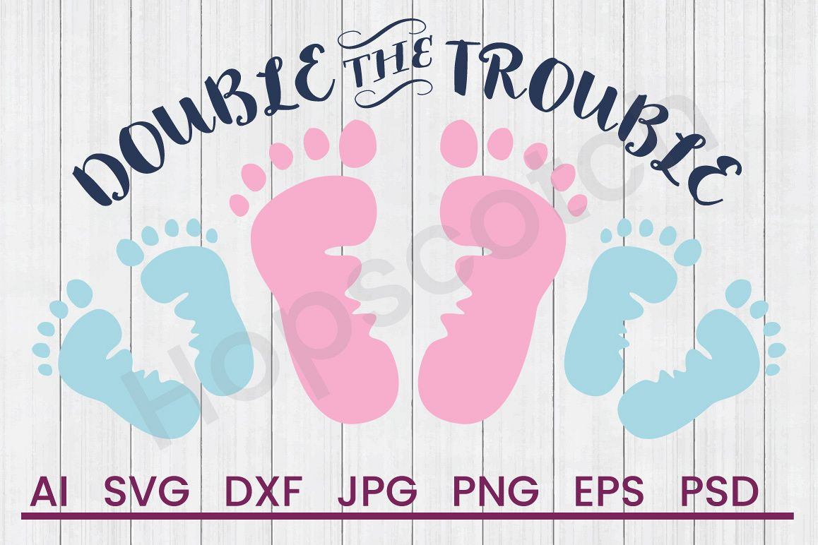 Footprints SVG, Trouble SVG, DXF File, Cuttatable File example image 1