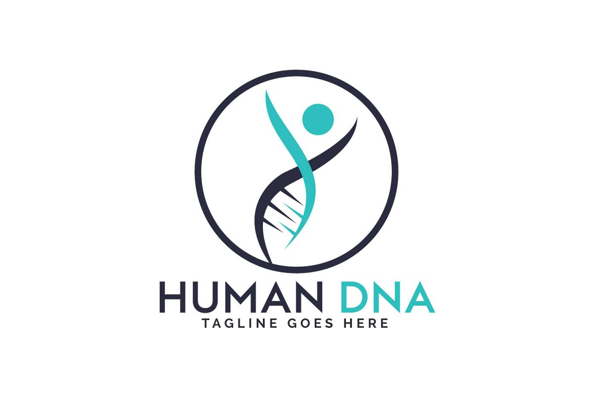Human DNA and genetic logo design. example image 1