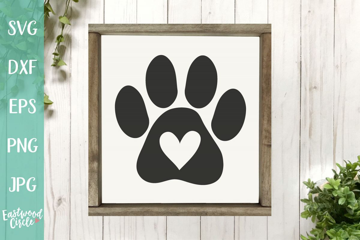 Paw Print with Heart - A Dog SVG File for Crafters example image 1