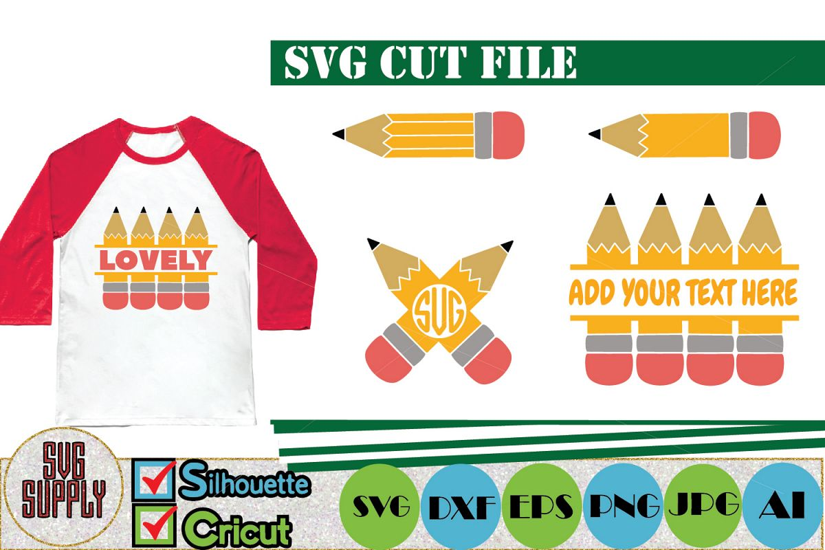 Pencil Monogram SVG Cut File example image 1