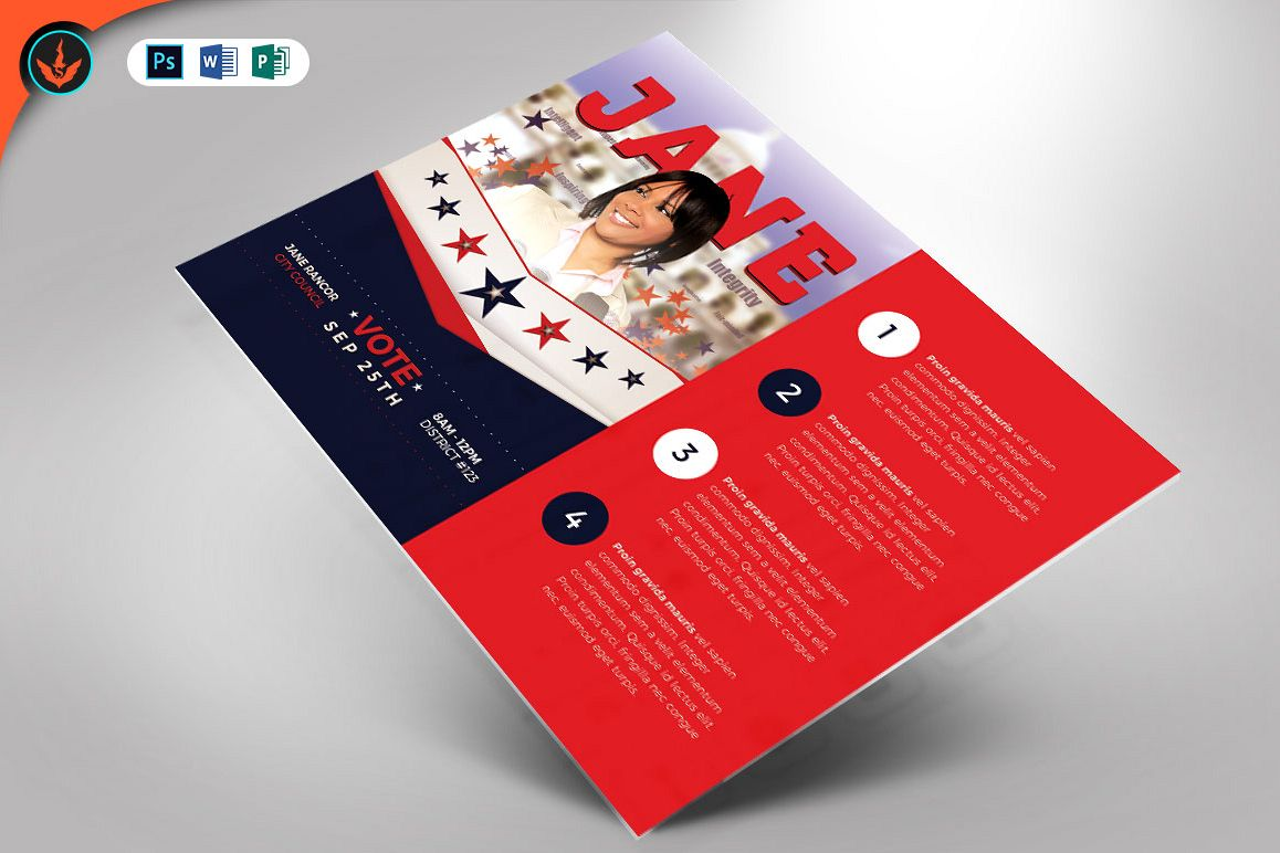 Political Flyer Photoshop, Word, Publisher Template 5 example image 1