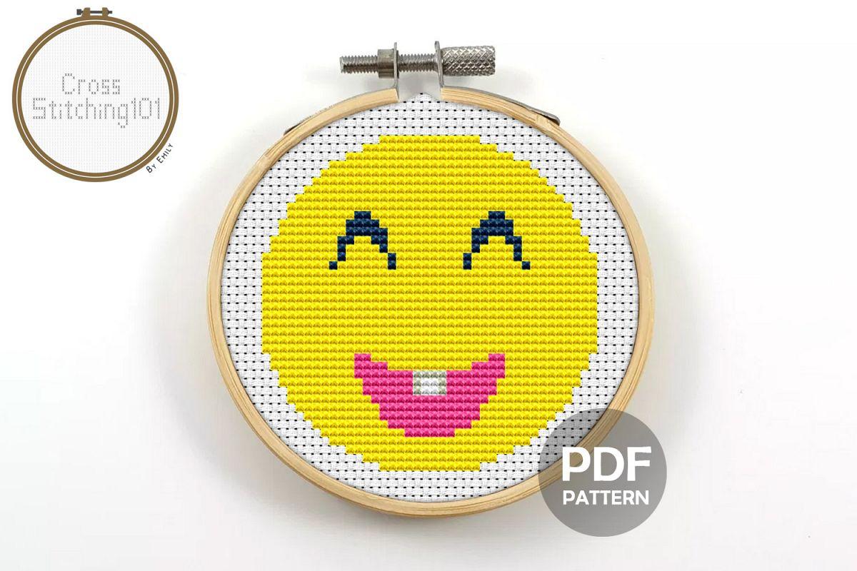 Emoji Smiley Modern Cross Stitch Pattern- Instant Download example image 1