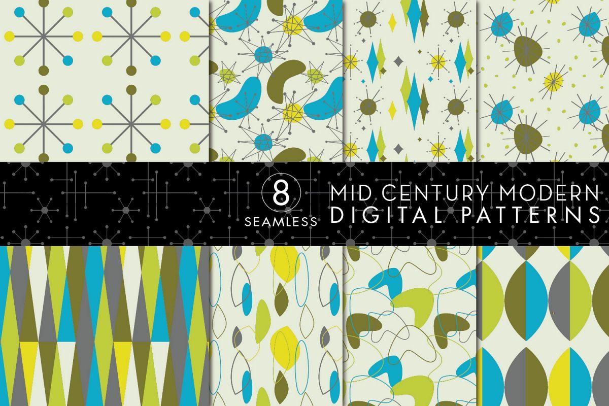 8 Seamless Mid Century Modern Patterns Set 2