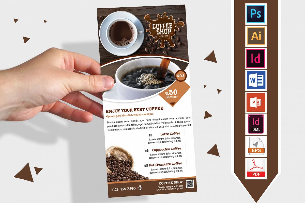 Rack Card | Coffee Shop DL Flyer Vol-01 example image 1
