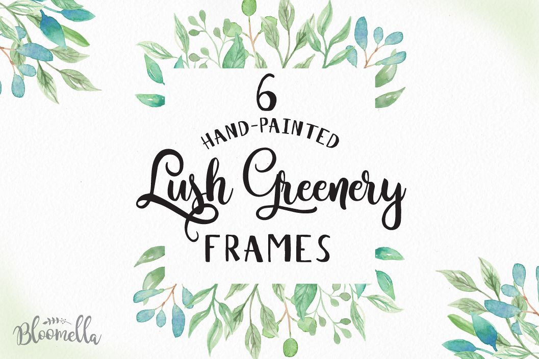 Lush Frames 6 Watercolor Greenery Clipart Border Leaves Leaf Example Image