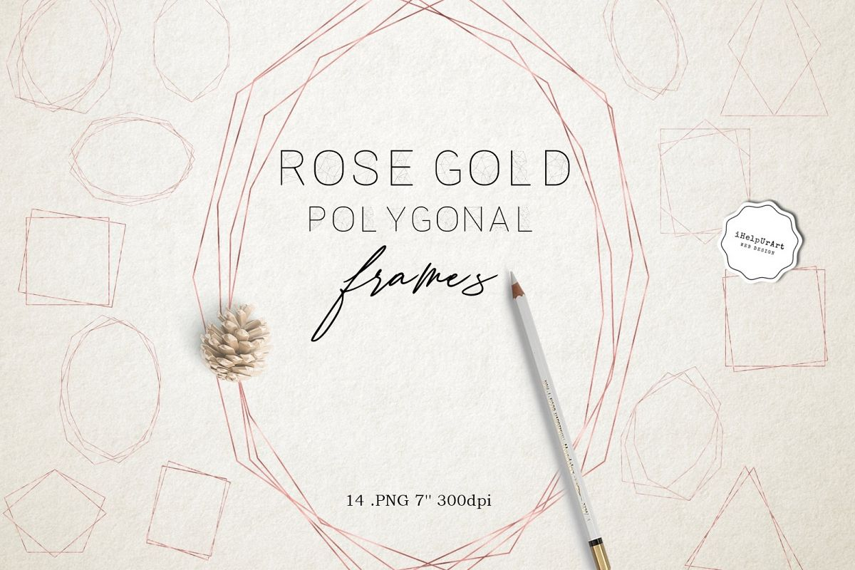 Rose Gold Polygonal Geometric Frames Clipart example image 1