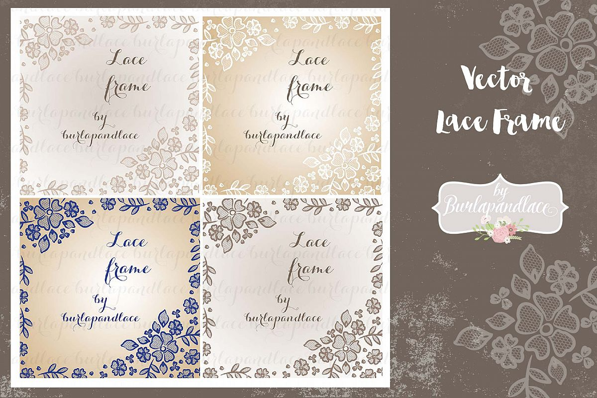 Vector floral lace frame example image 1