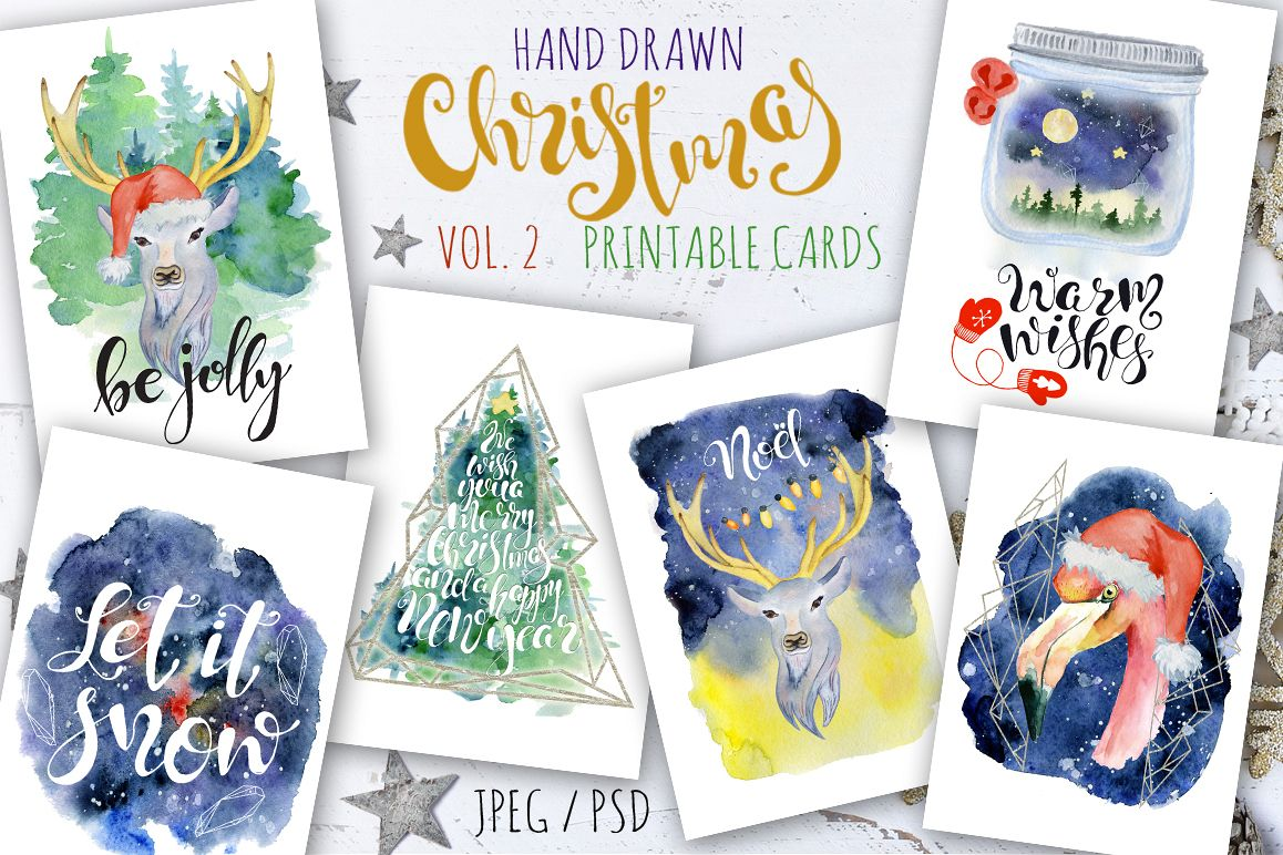 Christmas watercolor cards Vol.2 example image 1