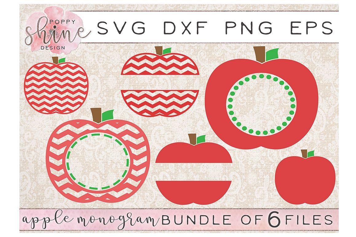 Apple Monogram Frame Bundle of 6 SVG PNG EPS DXF Cutting Files example image 1