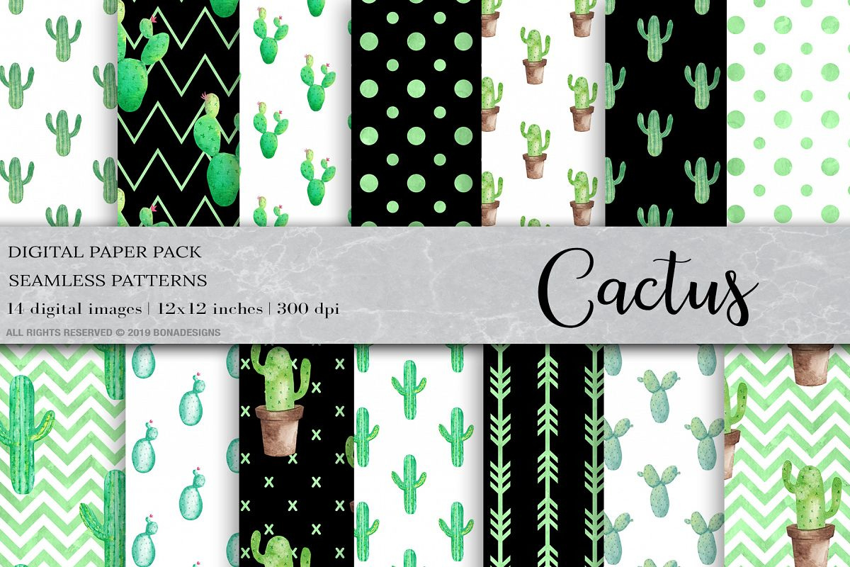 Watercolor Cactus Digital Papers, Cactus Patterns example image 1