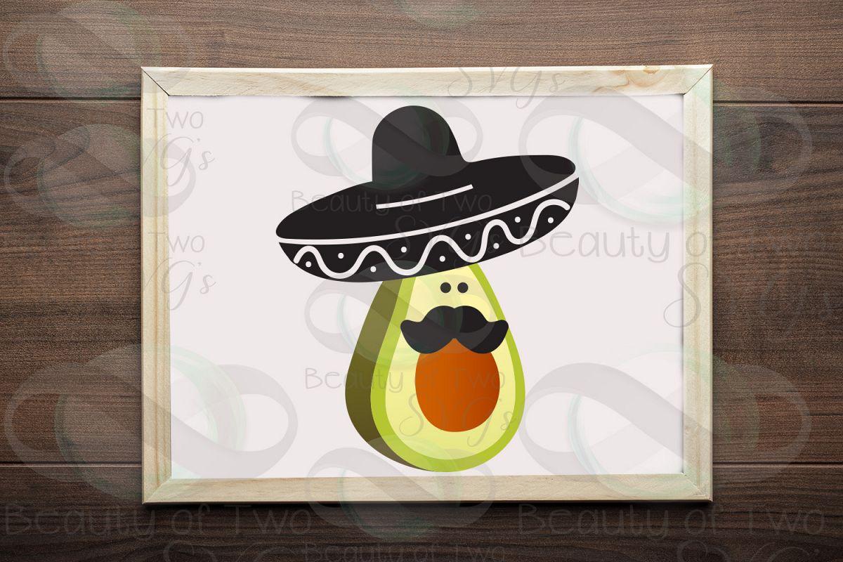 Cinco de Mayo avocado svg & png, avocado svg, sombrero svg example image 1
