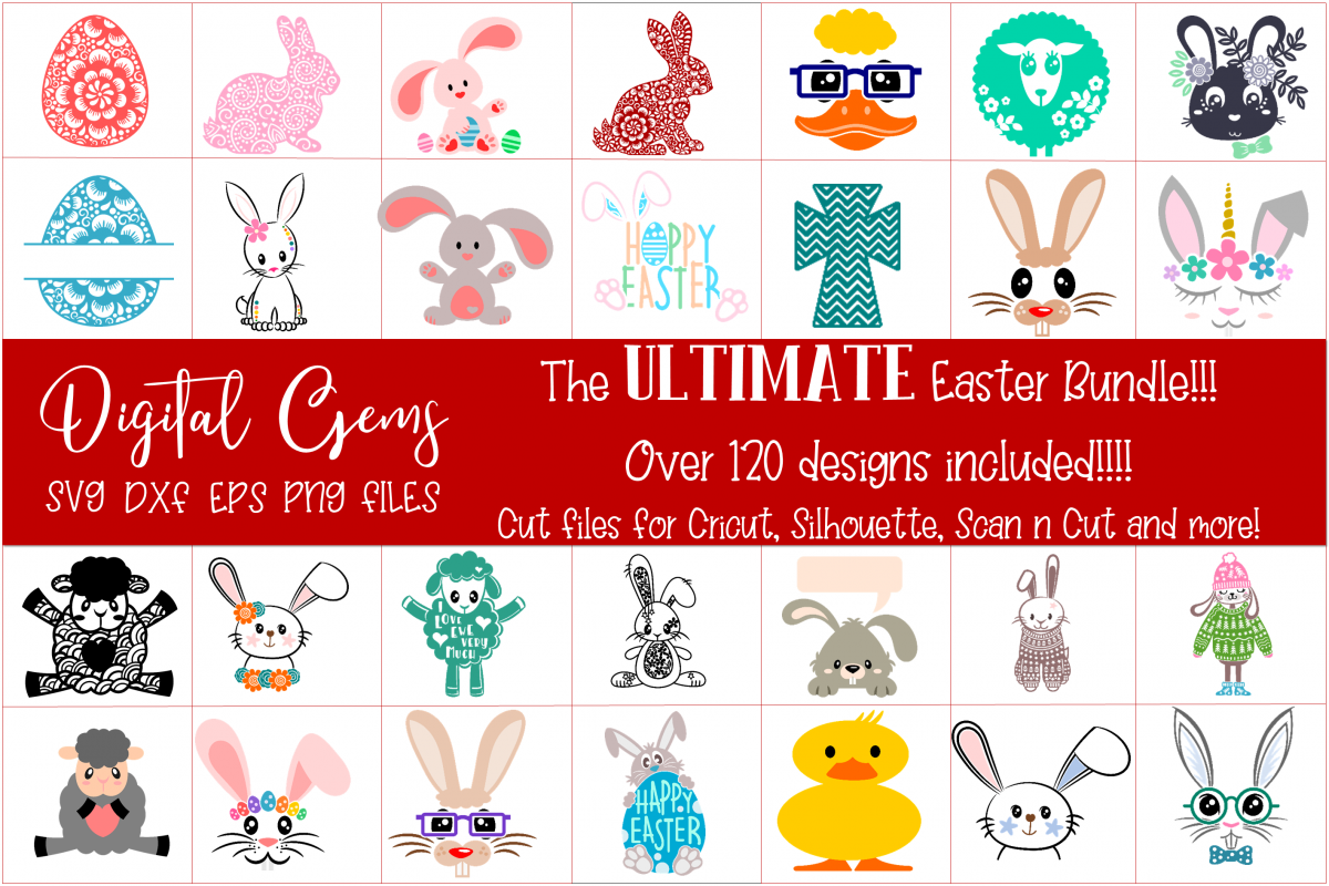 Easter Bundle SVG / DXF / EPS / PNG files example image 1