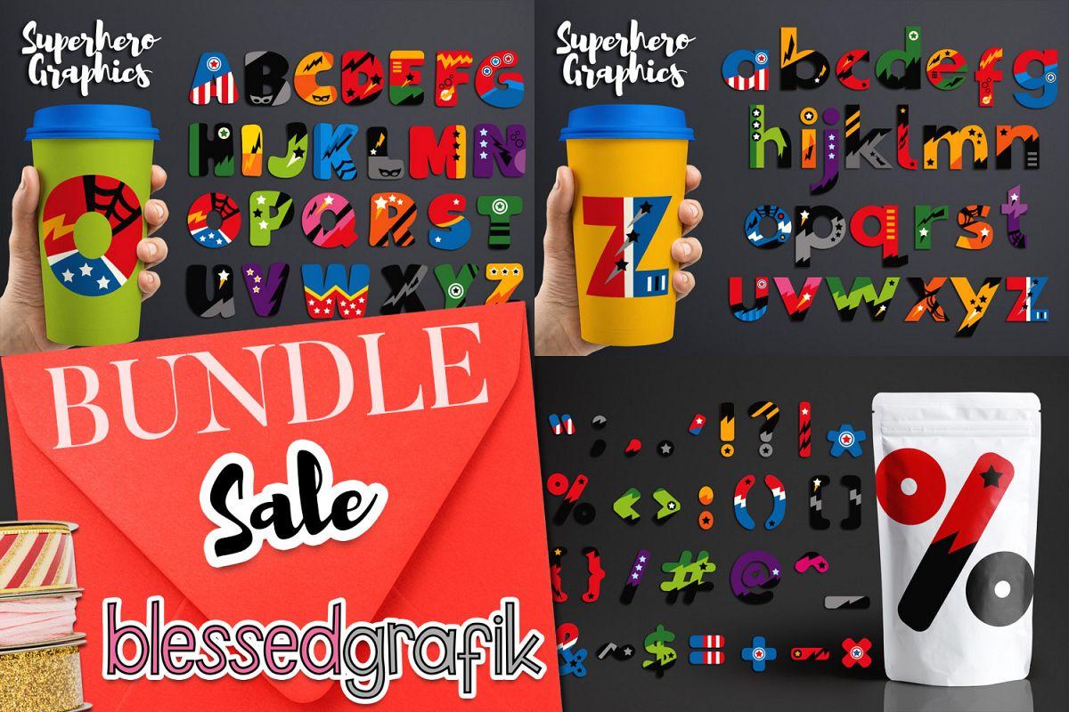 Superhero Alphabet and Punctuation - Graphics Bundle example image 1