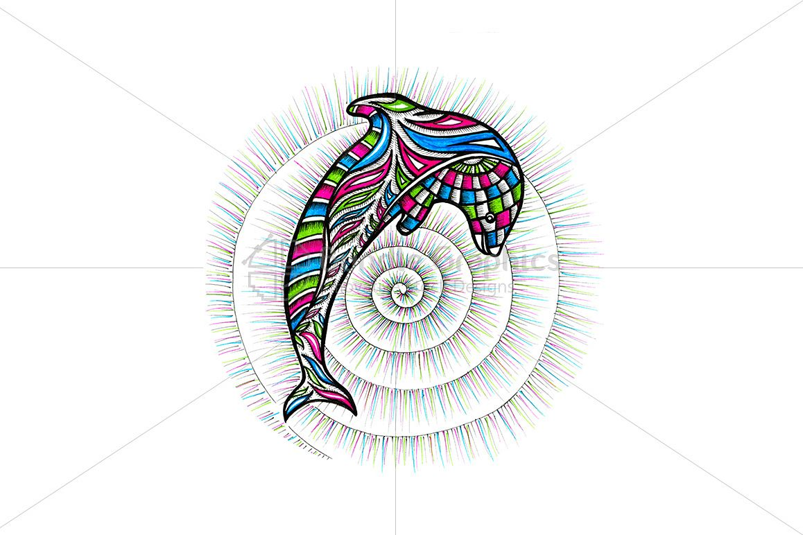 Dolphin – Colorful Handmade Graphics example image 1