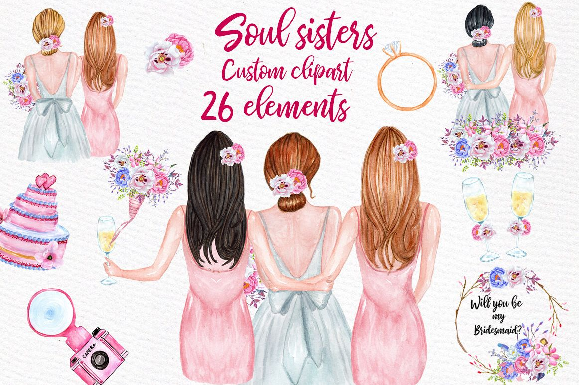 Bridesmaid Best friends clipart, Soul Sisters clipart Custom example image 1