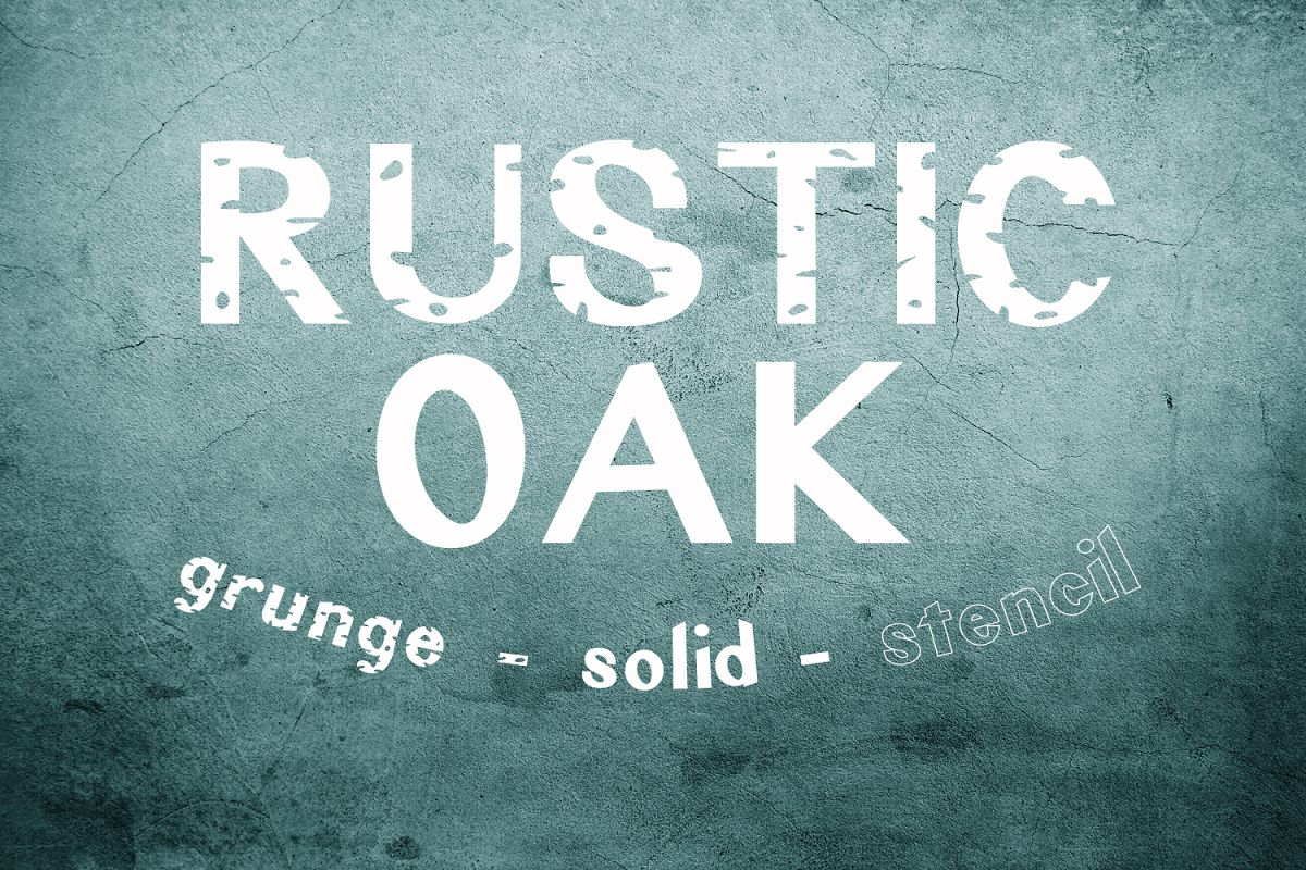 Rustic Oak A Grunge, Solid, and Stencil Font example image 1