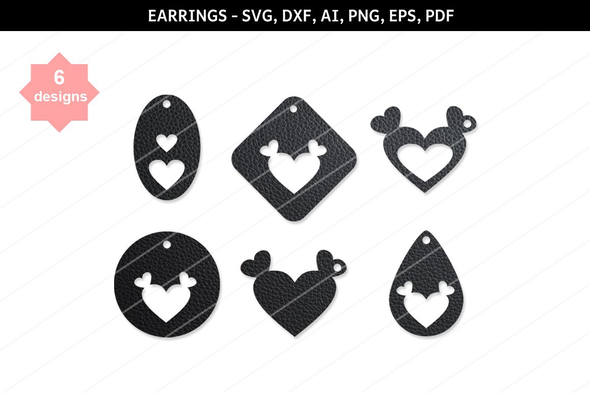 Heart earrings,Heart clipart,Heart svg,cutting files,cameo example image 1