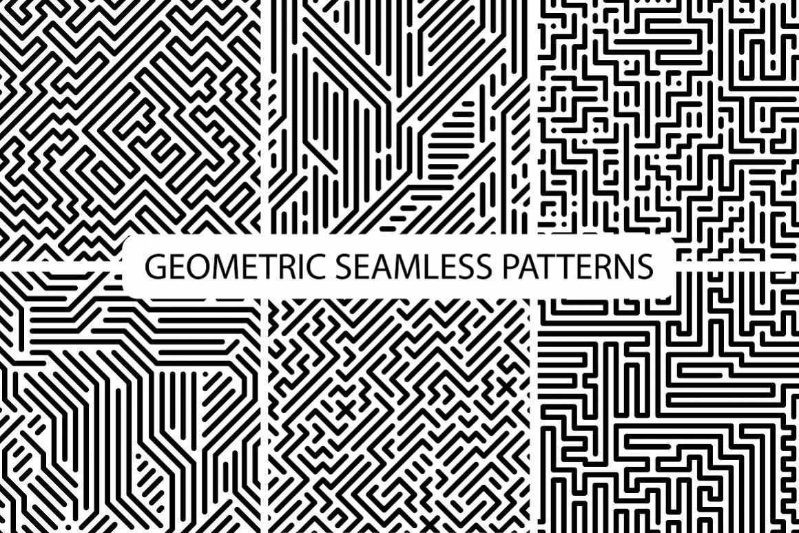 Seamless striped geometric patterns example image 1