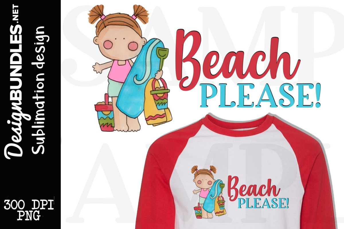 Beach Please Sublimation Design example image 1