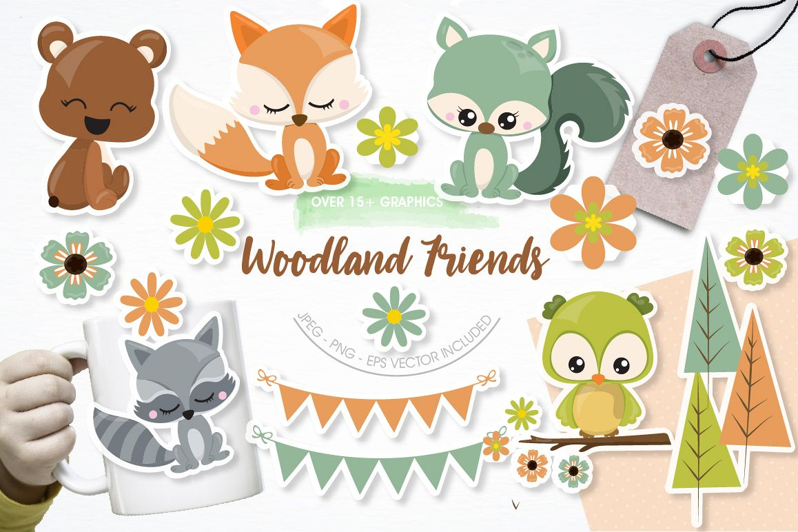 Woodland friends graphics and illustrations example image 1