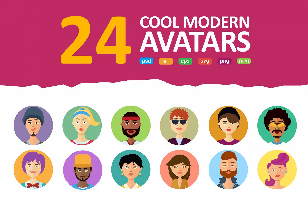 Avatars vector People Collection flat cartoon example image 1