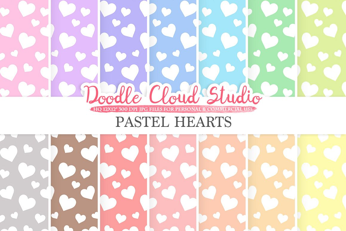 Pastel Hearts digital paper, Hearts patterns, Digital Hearts, pastel colors background, Instant Download for Personal & Commercial Use example image 1