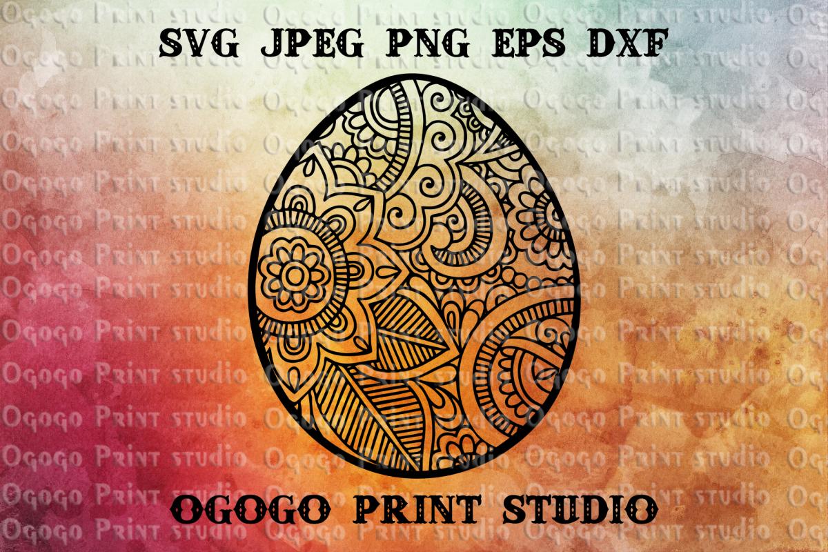 Egg SVG, Zentangle Svg, Easter SVG, Mandala svg, Cricut file example image 1