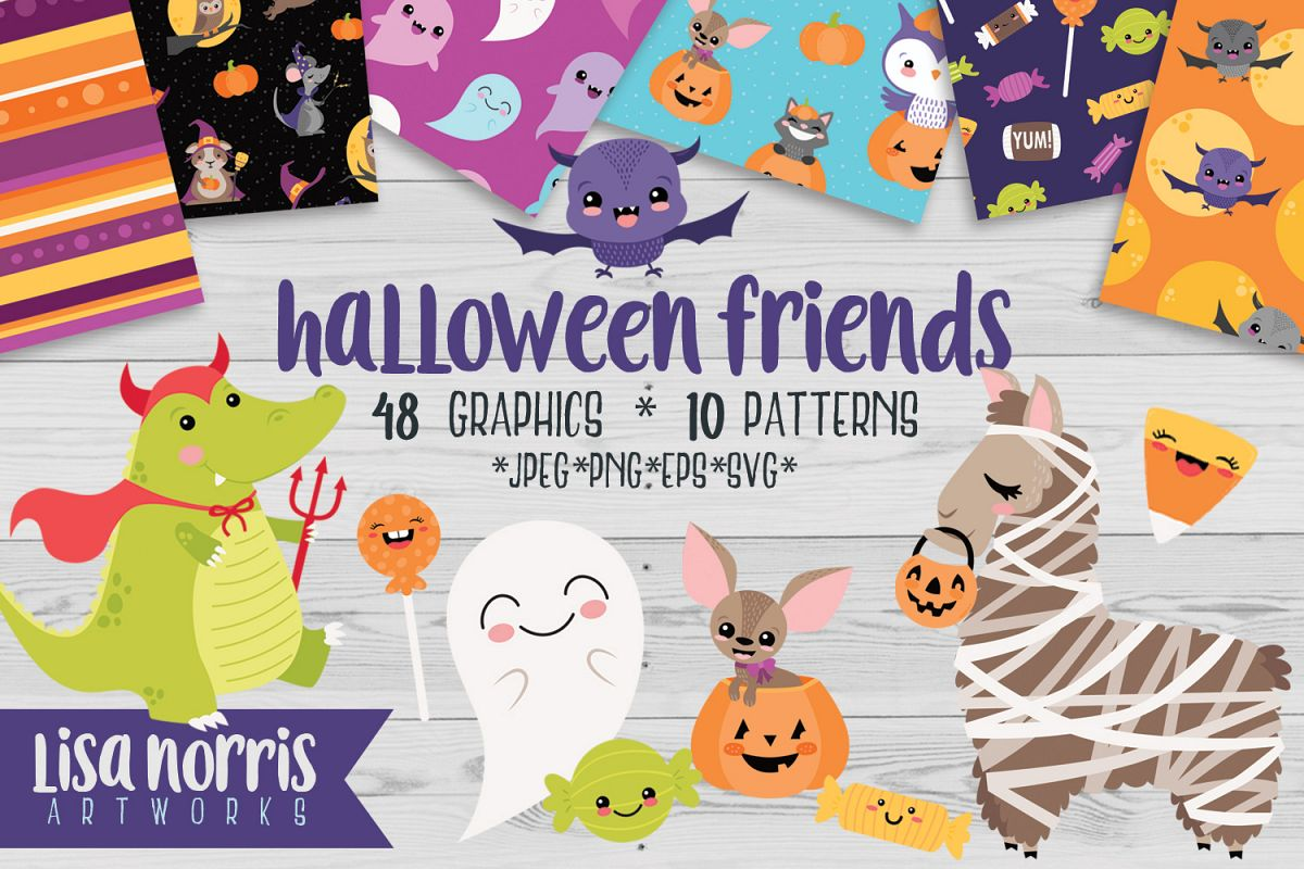 Halloween Friends Clip Art, Patterns, & SVG Cutting Files example image 1