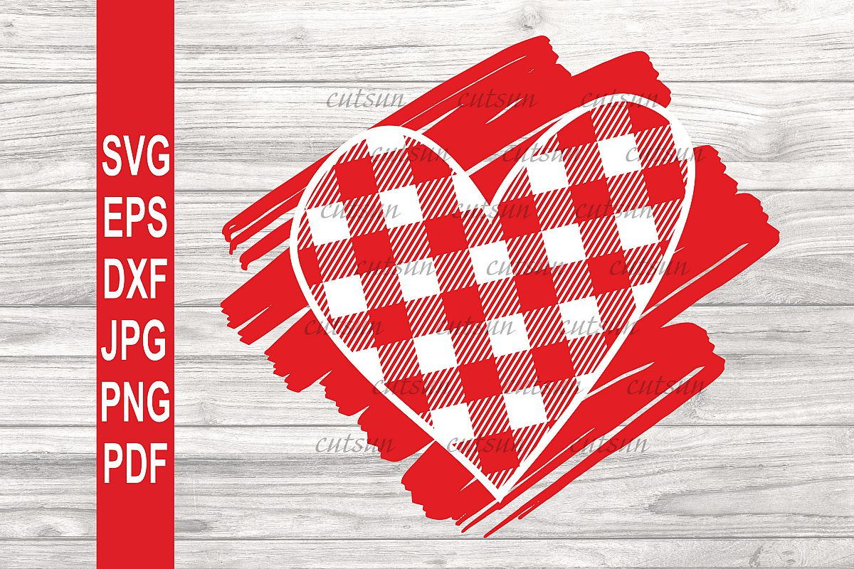 Valentine SVG  Plaid Heart on a scribble   Heart plaid example image 1