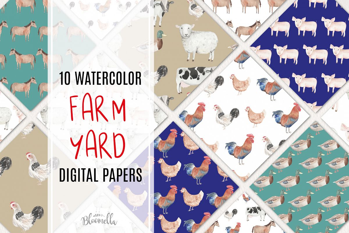 Farm Yard 10 Seamless Patterns Digital Papers Cute Animals example image 1